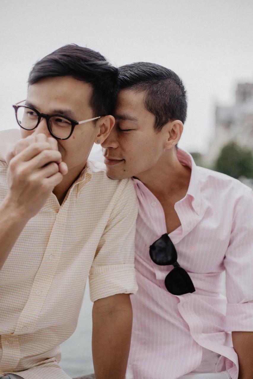 notre dame church Away We Wow - gay same sex couple photography paris - travel blogger quai de seine river