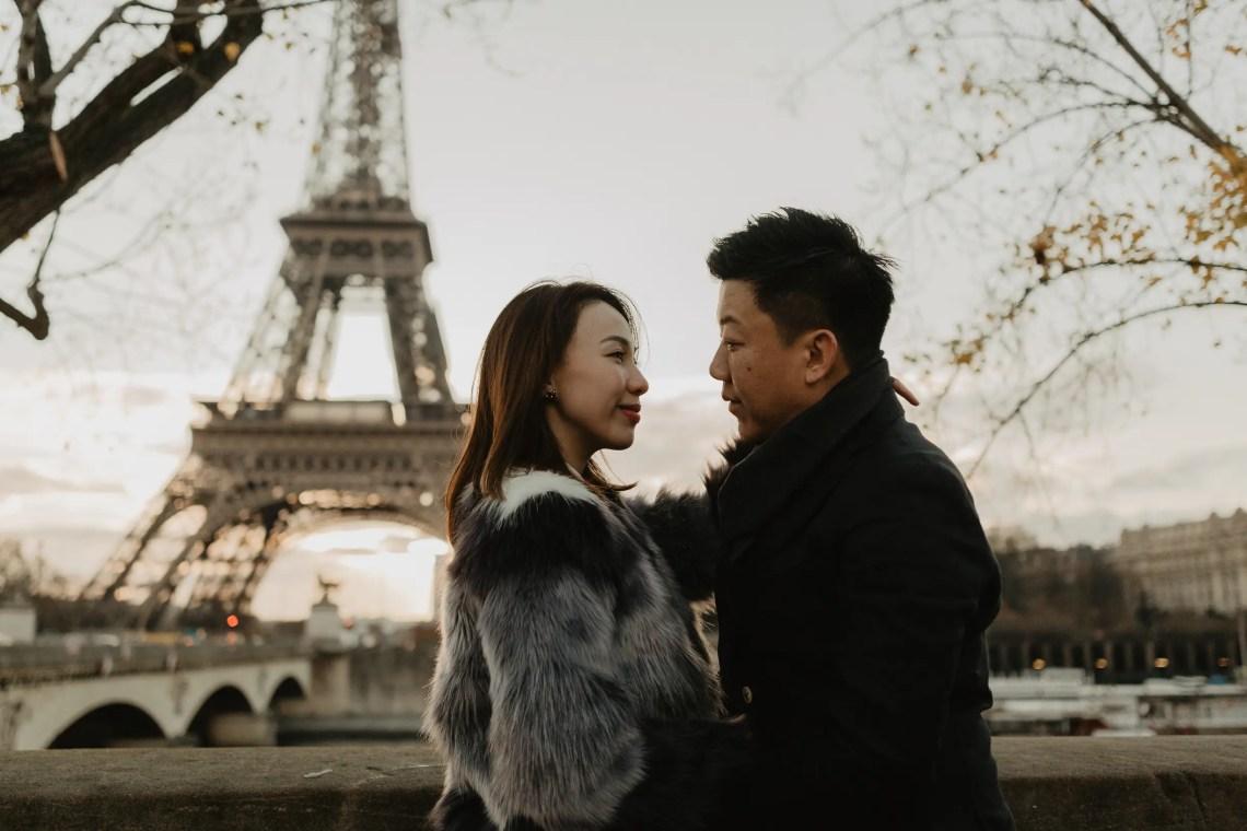 Winter Couple Eiffel tower sunrise Paris