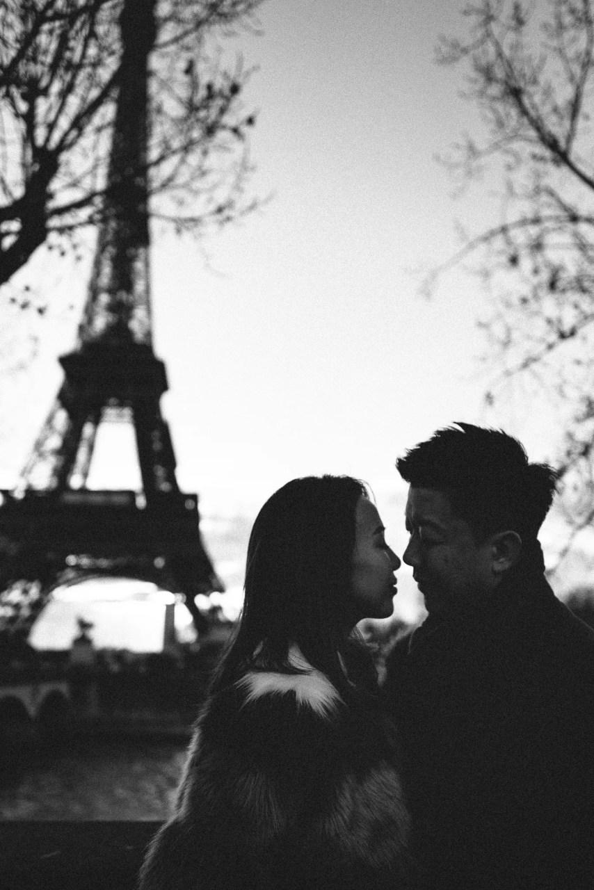 Black and white Winter Couple Eiffel tower sunrise Paris