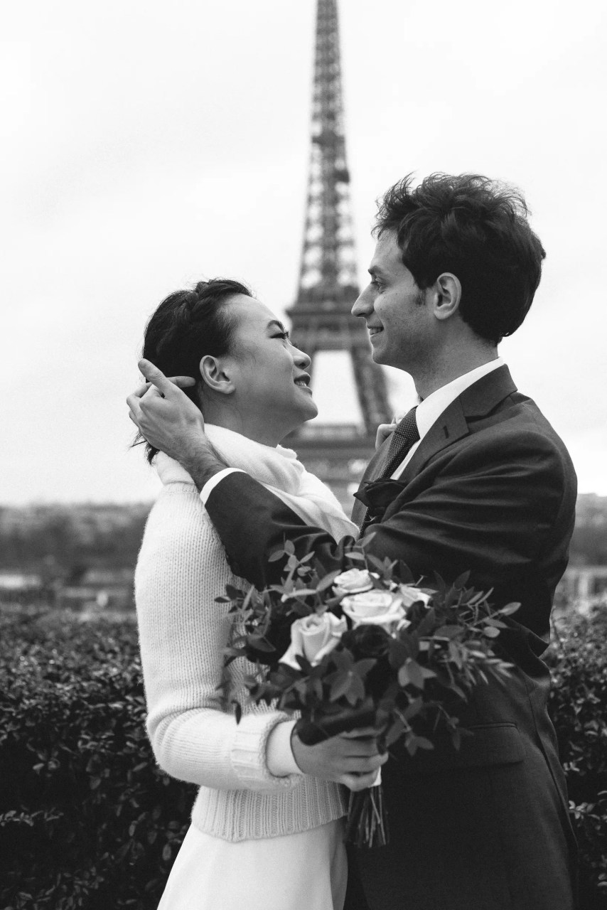 Winter wedding paris photography eiffel tower trocadero