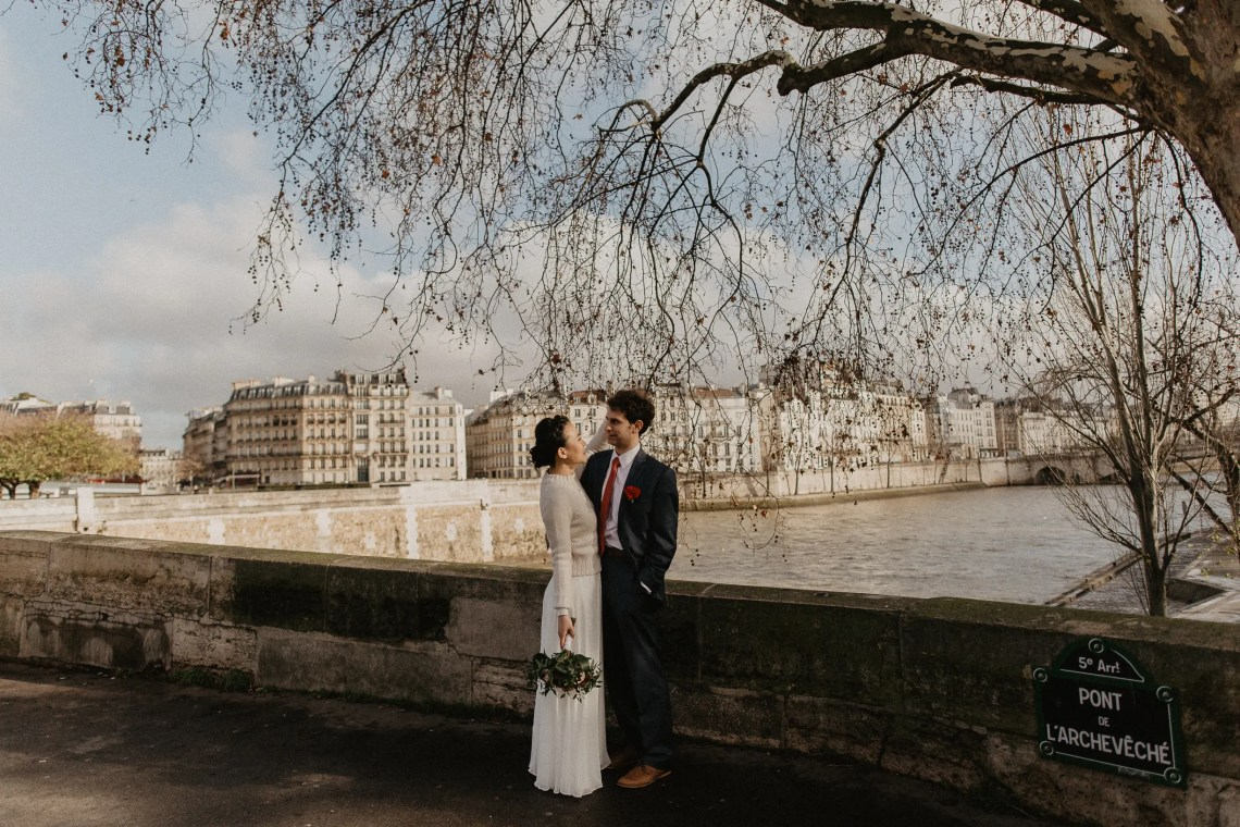 Winter Wedding photography Paris Seine river