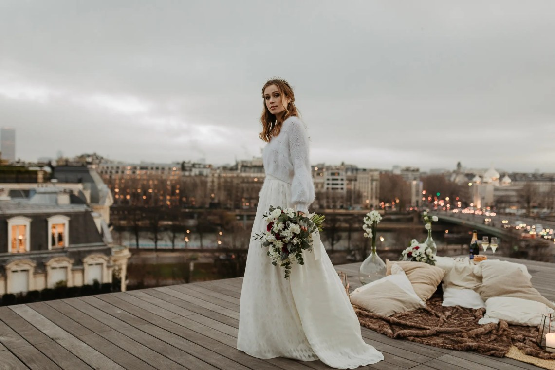 1U1A2623 Parisian Winter Rooftop Elopement Weddings Weddings & Couples  Couple Photography in Paris eiffel tower elopement photography paris feature mariage hiver paris mariage photographe winter wedding paris