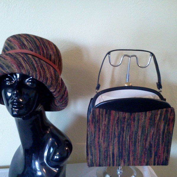 SOLD–Vintage 50s  60 s Tapestry Hat   Matching Pocketbook Purse by Darcel 527e426826c6