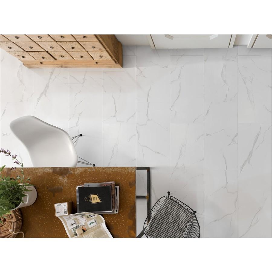 faber 12x24 polished carrara white porcelain floor wall tile