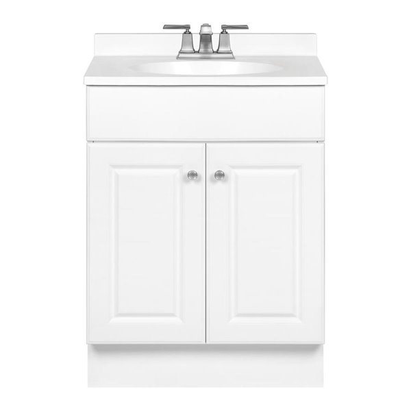 project source white integral 1 bathroom vanity with cultured marble top common 25 in x 19 in actual 24 5 in x 18 5 in