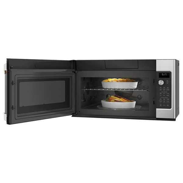 cafe cafe 1 7 cu ft over the range convection microwave with sensor cooking controls stainless steel common large 1 5 cu ft actual 29 875 in