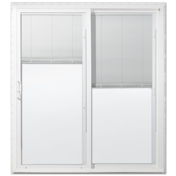 60 in x 80 in blinds between the glass white vinyl right hand sliding patio door with screen