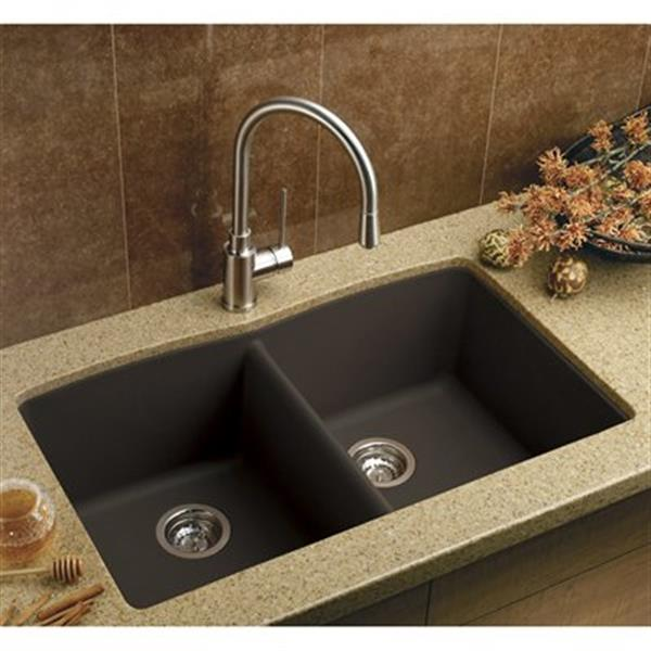 blanco diamond 19 25 in x 32 in cafe silgranit double bowl kitchen sink