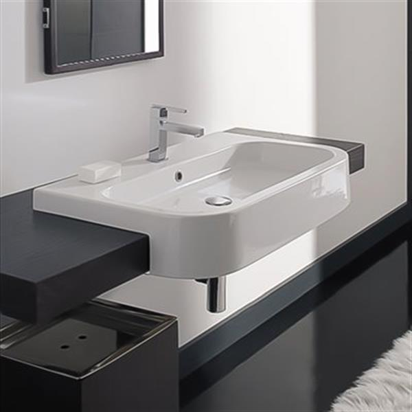 nameeks scarabeo next 31 90 in x 19 70 in white vitreous china rectangular drop in semi recessed sink
