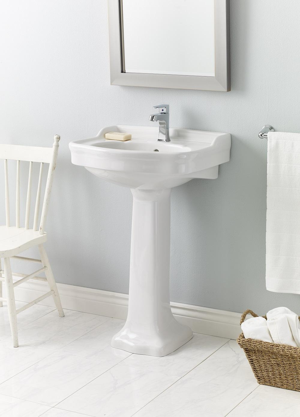 Cheviot Antique Pedestal Bathroom Sink 22 1 2 X 18 1 2 White Lowe S Canada