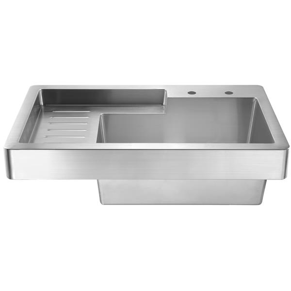 whitehaus collection drop in utility sink with drainboard stainless steel