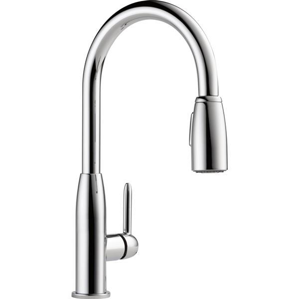 peerless tunbridge single handle kitchen faucet pull down chrome