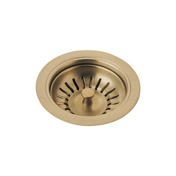 delta kitchen sink flange and strainer champagne bronze
