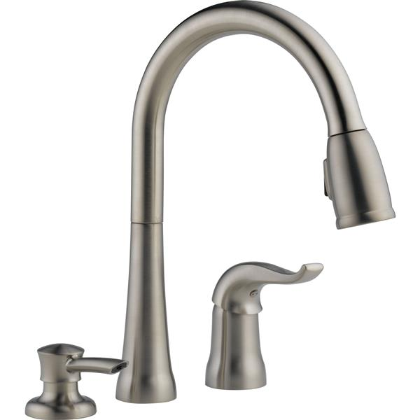 delta pull down kitchen faucet with soap dispenser