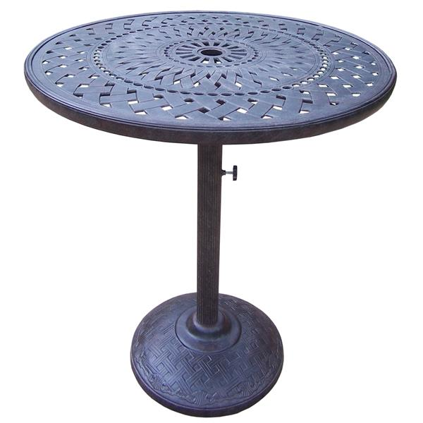 oakland living belmont patio table 42 in aluminum top and iron base