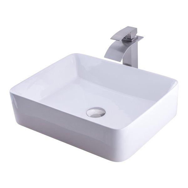 novatto porcelain rectangular vessel sink 20 75 in white brushed nickel