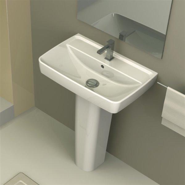 nameeks duru square pedestal sink in white single hole 30 12 in x 22 62 in x 16 in