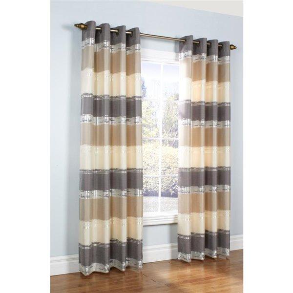 legacy mist stripe metallic 84 in striped taupe single curtain panel