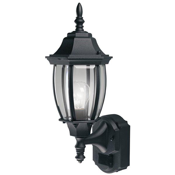 heath zenith 18 5 in h black motion sensor outdoor wall light