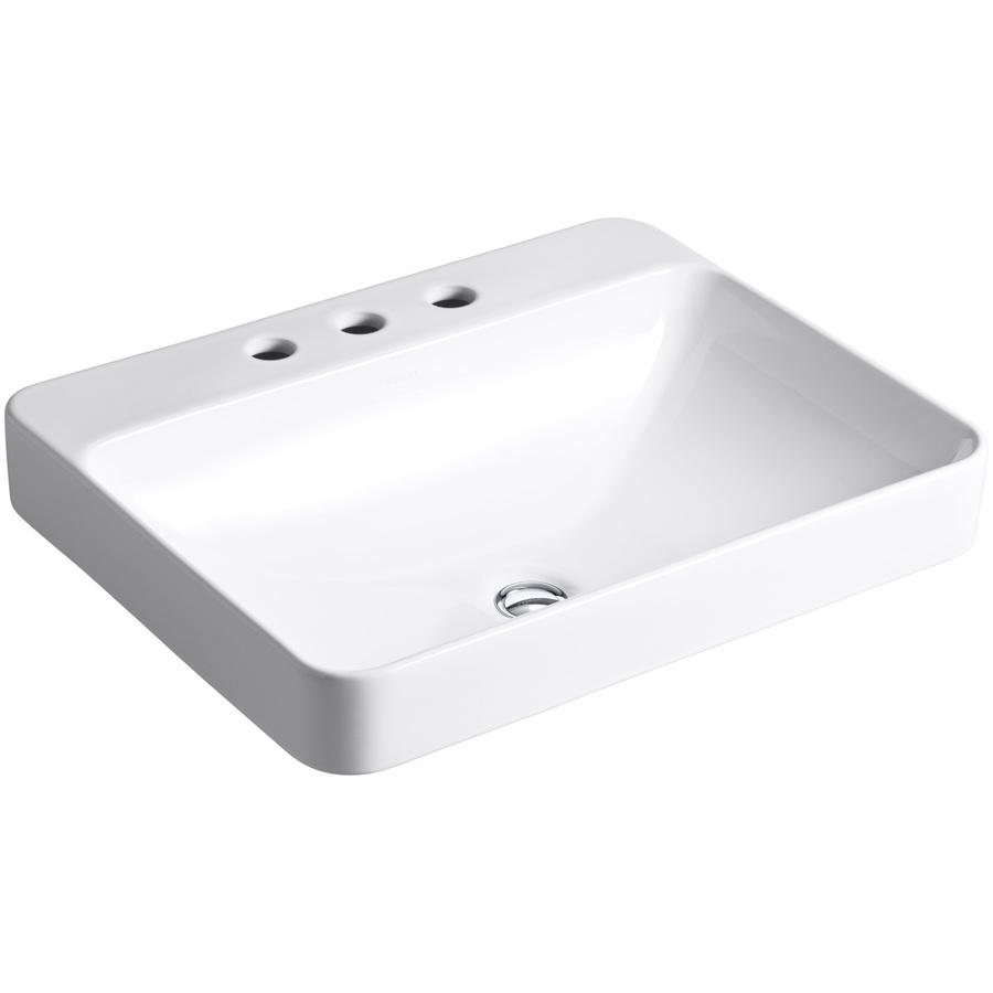 kohler vox rectangle vessel bathroom sink with widespread faucet holes