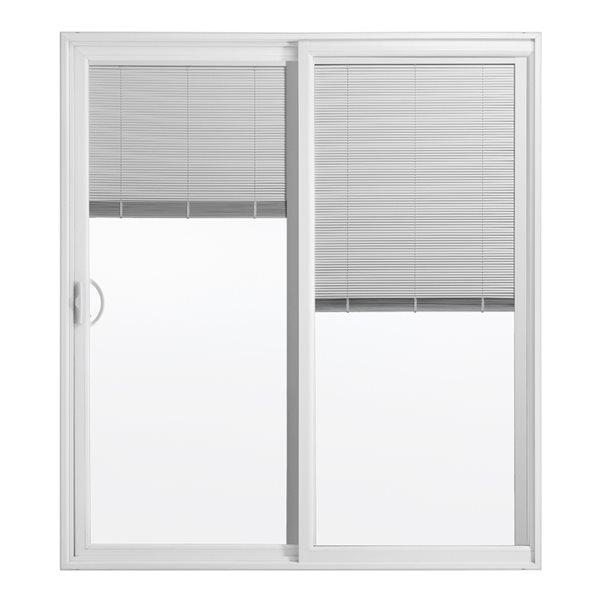 60 in x 80 in blinds between the glass white vinyl left hand sliding patio door with screen