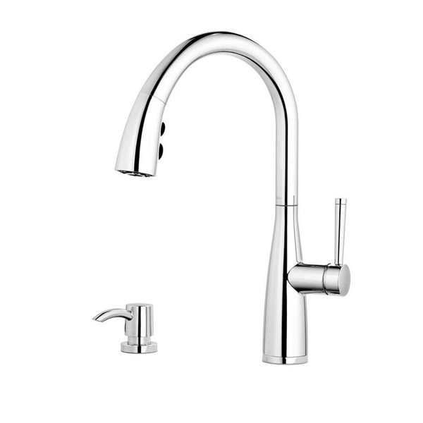 pfister raya one handle pull down kitchen faucet with soap dispenser