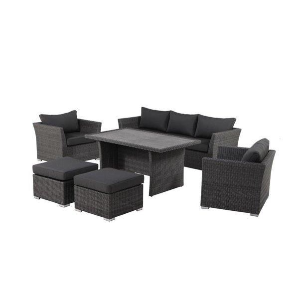 allen roth patio conversation set prescott black grey 6 piece