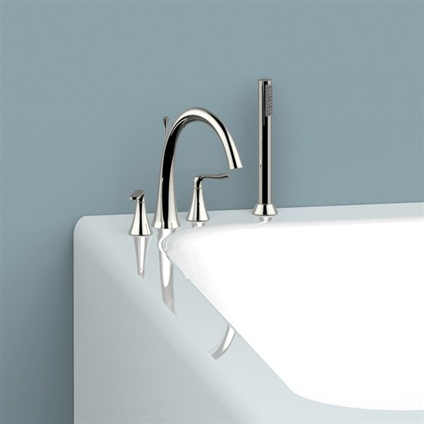 jacuzzi ottawa polished chrome 2 handle deck mount roman bathtub faucet with hand shower valve included