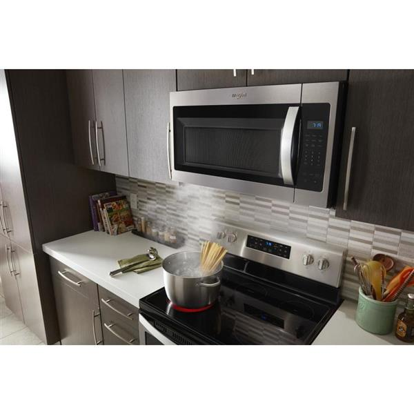 whirlpool 1 7 cu ft over the range microwave fingerprint resistant stainless steel