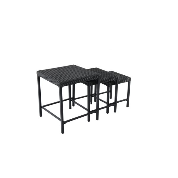 allen roth 3 piece black wicker nesting patio side table set
