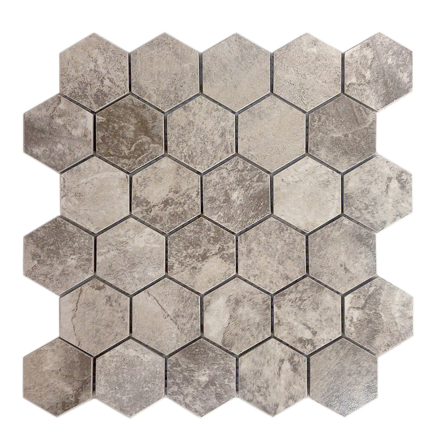 avenzo 12 in x 12 in storm gray hexagon ceramic mosaic wall tile