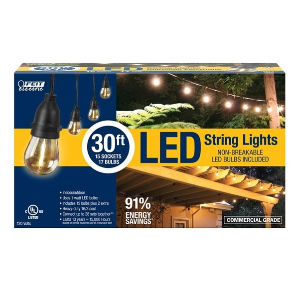 feit electric 15 count clear led outdoor string lights