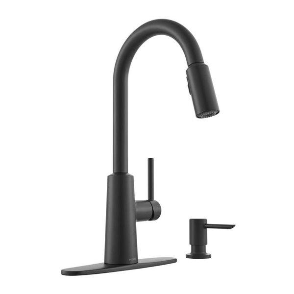 moen nori matte black 1 handle pull down kitchen faucet