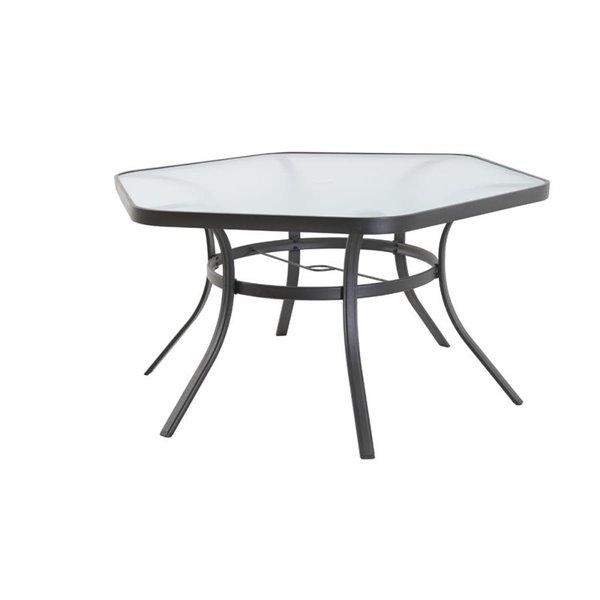 style selections hexagon dinner table with glass table top 56 1 x 27 56 in