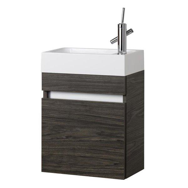 cutler 18 in single sink brown bathroom vanity with cultured marble top