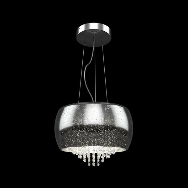 artika artika 15 75 in chrome crystal electrical outlet hardwired multi light tinted glass bowl pendant