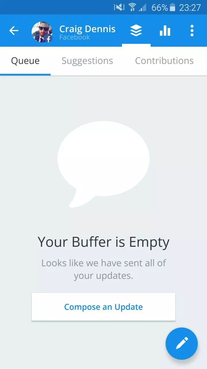 Buffer empty state requesting user to compose an update