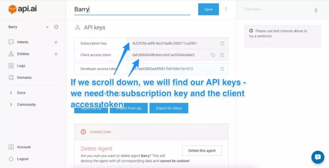 Finding your Api.ai API keys