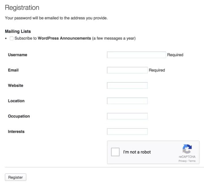 WordPress Register Form