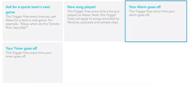 Triggering on Amazon Echo's alarm