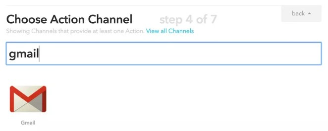 Choosing Gmail Action Channel