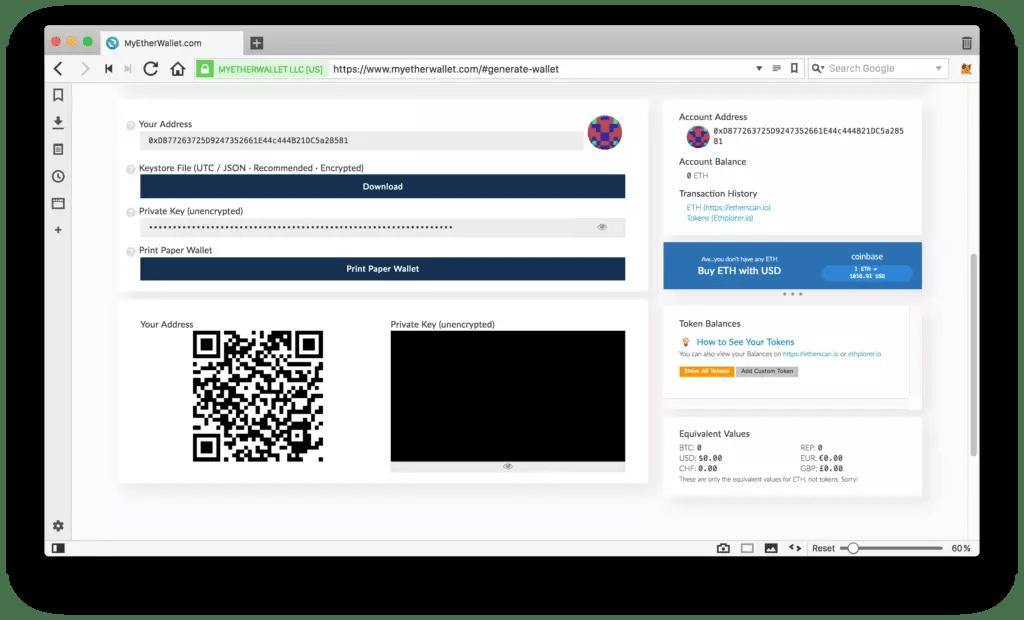 Unlocked wallet info UI