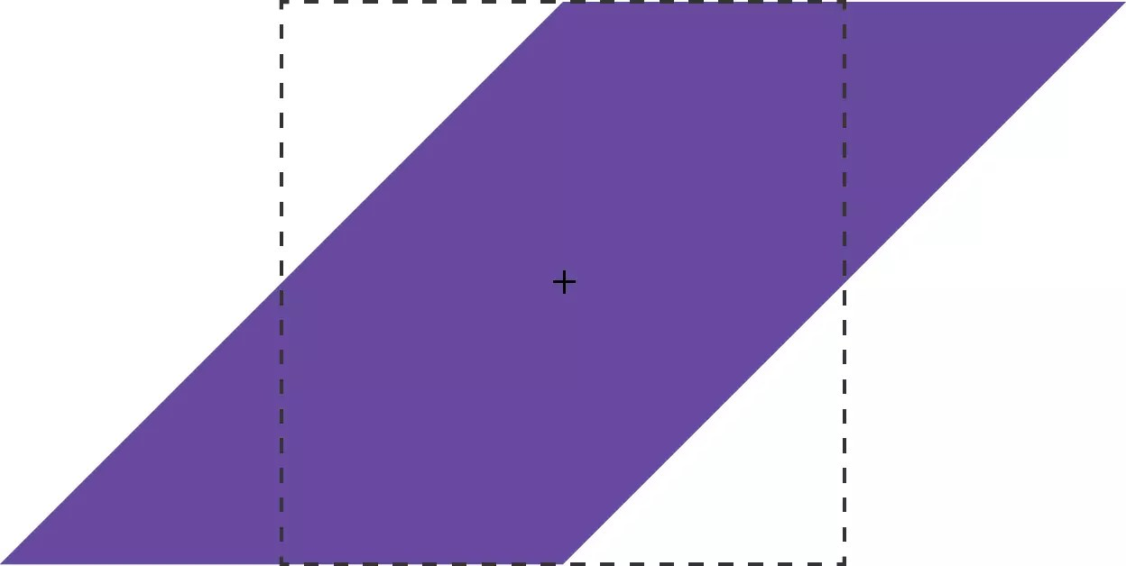 A rectangle is skewed 45 degrees along its X-dimension