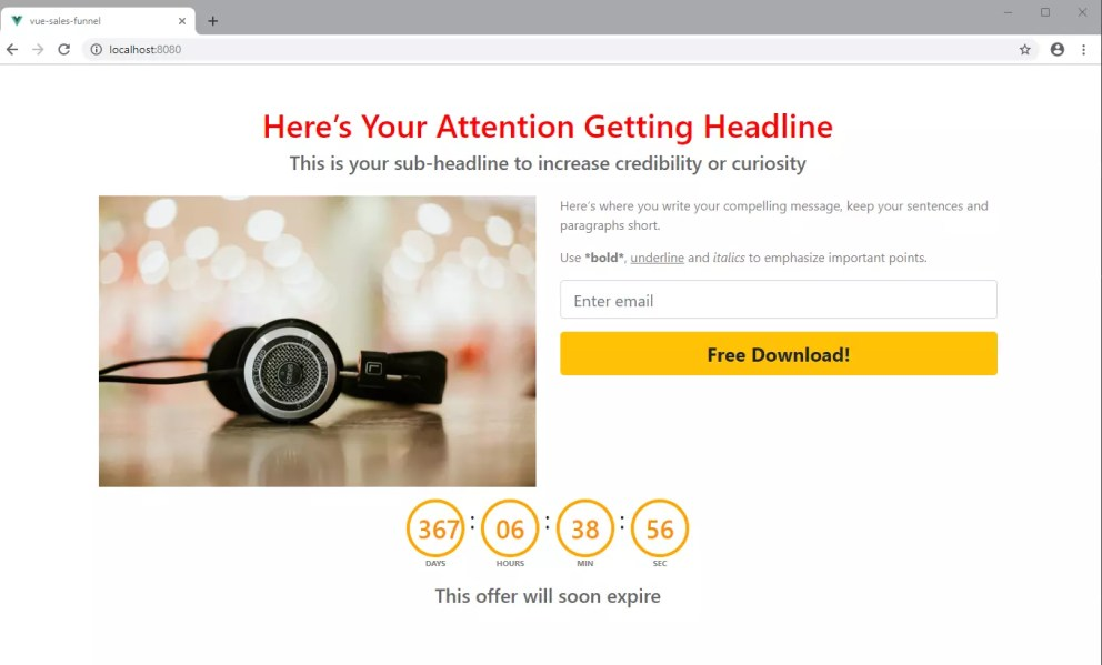 Sales funnel with Vue countdown timer