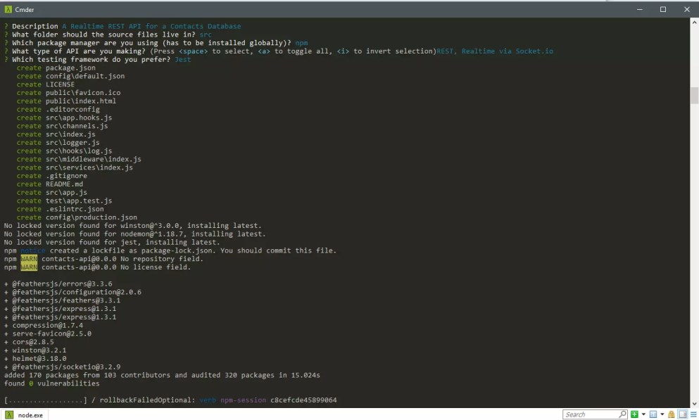 Creating a Feathers app in the command line