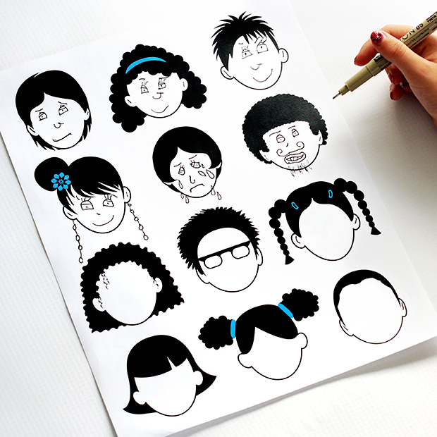 blank faces coloring page 2 0 dabbles amp babbles