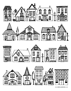 houses coloring page dabbles amp babbles