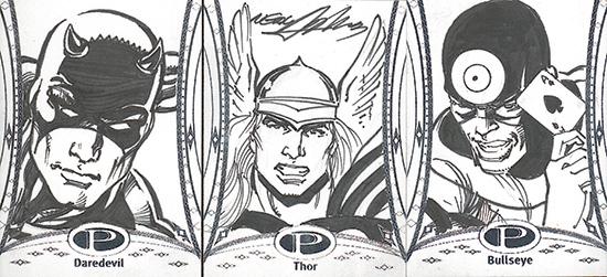 2014-Marvel-Premier-Upper-Deck-Sketch-Card-Neal-Adams-Daredevil-Thor-Bullseye1