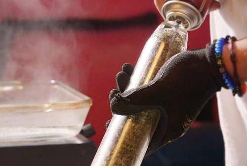 Butane is pumped through the vessel of marijuana