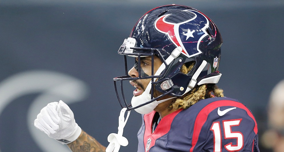 Aug 20, 2016; Houston, TX, USA; Houston Texans wide receiver Will Fuller (15) reacts after catching a touchdown pass against the New Orleans Saints in the first quarter at NRG Stadium. Mandatory Credit: Thomas B. Shea-USA TODAY Sports